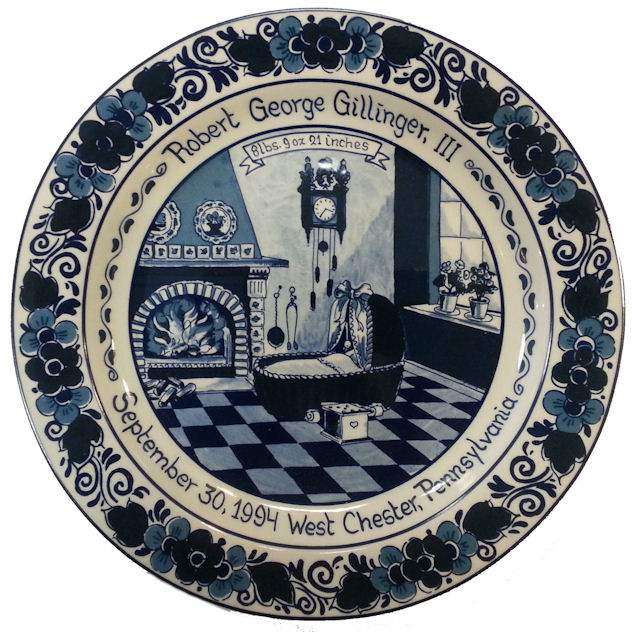 personalized blue delft birth plates by royal goedewaagen