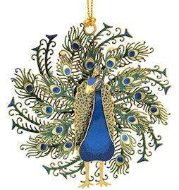 53148 Peacock Christmas Ornament by Chem Art