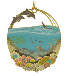 54434 Tropical Collage Christmas Ornament by Chem Art