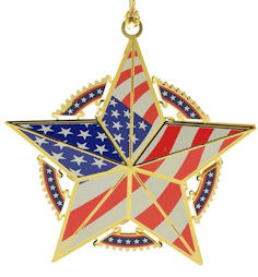 54438 Star with Flag Christmas Ornament by Chem Art