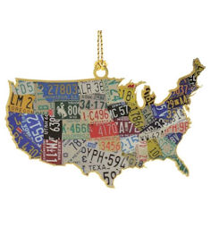 54439 USA License Plate Map Christmas Ornament by Chem Art