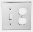 solid brass square bevel switch plate combo