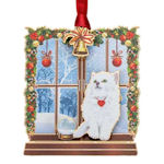#61347 Cat in Window Christmas Ornament