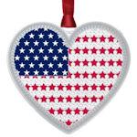 #62480 American Flag Heart Christmas Ornament