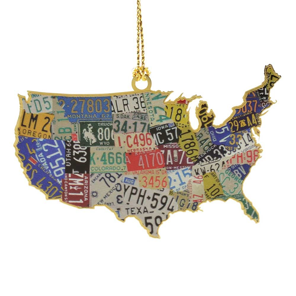 USA License Plate Map Ornament Handcrafted in the USA Item 54439