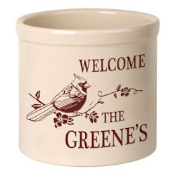 Personalized Perched Cardinal Welcome Crock